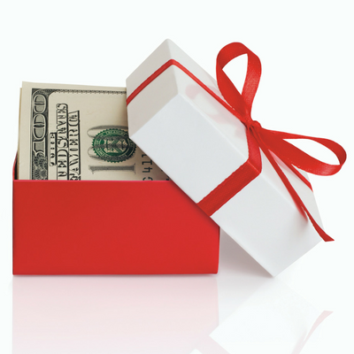 Gift box with money in it.