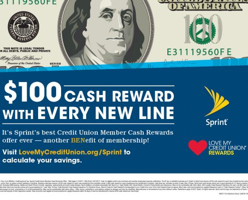 Sprint ad for $100 cash reward with every new line for Credit Union Members.