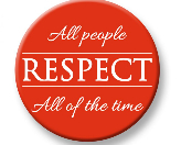 "Image stating, ""All people Respect all of the time"""