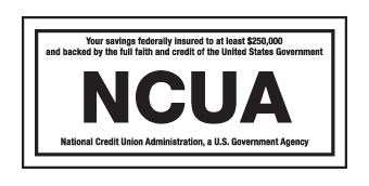 NCUA logo - savings insured to at least $250,000 and backed by US government